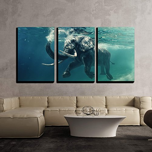"Wall26 - 3 Piece Canvas Wall Art - Swimming Elephant Underwater. African Elephant in Ocean with Mirrors and Ripples - Modern Home Decor Stretched and Framed Ready to Hang - 16""x24\""x3 Panels"