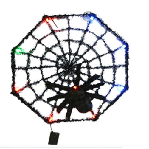 Binmer(TM) LED Halloween Light Shining Spider Web Net Home Bar Decoration