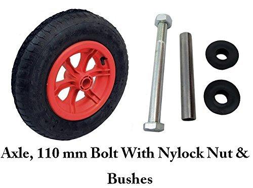 Axle Tyre - RED SPOKED + AXLE wheelbarrow / Trolley Wheel Pneumatic 16 Tyre 4.80/4.00-8 by Keto Plastics