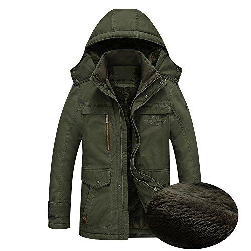 prueba a Chaqueta TOPQSC Verde hombre invierno calle de de Chaquetas de Ropa Impermeable abrigadas Ropa de viento Parka Abrigo nBOqC