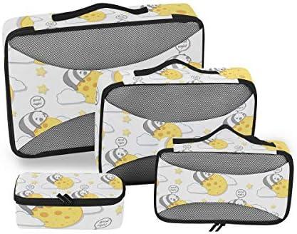 カワイイかわいいパンダムーン荷物パッキングキューブオーガナイザートイレタリーランドリーストレージバッグポーチパックキューブ4さまざまなサイズセットトラベルキッズレディース
