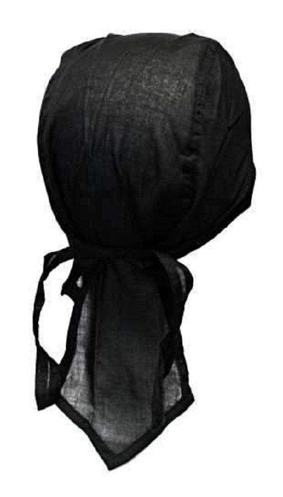 Bandana cuffia preformata serraggio regolabile 100% cotone Moto Paintball Calcio Nero