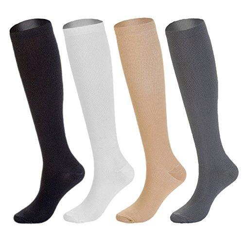 4 Pairs Knee High Graduated Compression Socks (15-20mmHg) for Men & Women - BEST Stockings for Running, Medical, Athletic, Diabetic, Swelling, Varicose Veins, Travel, Pregnancy, Shin Splints, Nurse