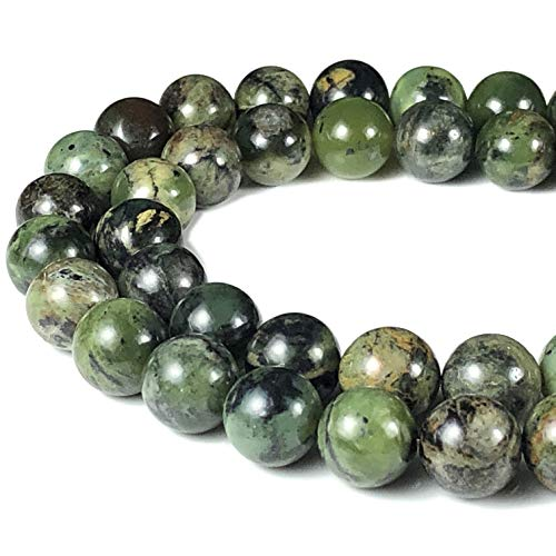 [ABCgems] Green Dendritic Jade 8mm Smooth Round Beads for Beading & Jewelry Making