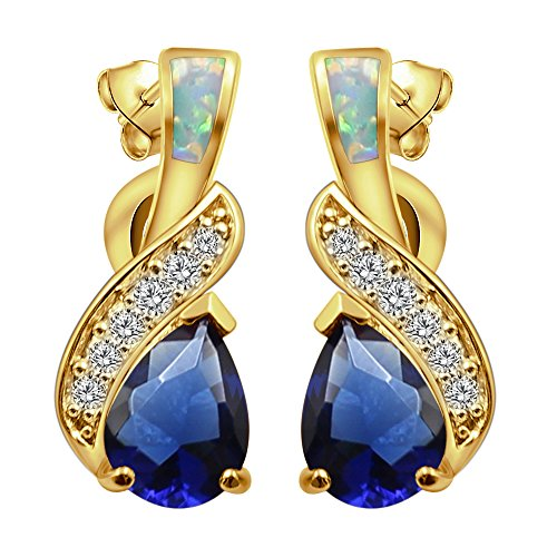 Sinlifu Rainbow Mystic Topaz Earrings Fire Blue White Opal With Fire Blue White Opal Design (Yellow:Blue Opal + ()