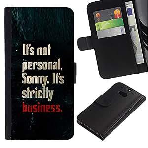 WonderWall ( No Para HTC ONE Mini 2) Fondo De Pantalla Imagen Diseño Cuero Voltear Ranura Tarjeta Funda Carcasa Cover Skin Case Tapa Para HTC One M8 - negocios personales de texto estrictamente tiburón