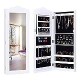 Giantex Mirror Jewelry Cabinet Wall Door Mounted Glass Storage Organizer Armoire White