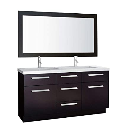 Exceptionnel Design Element Moscony Double Sink Vanity Set With Espresso Finish, 60 Inch