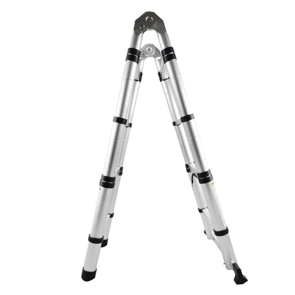 2,5+2,5M AUFUN Teleskopleiter 5m Alu-teleskopleiter Rutschfester Aluleiter Klappleiter Schiebeleiter Sprossenleiter Ausziehleiter Teleskop-Design Mehrzweckleiter max 150 kg Belastbarkeit Faltbar