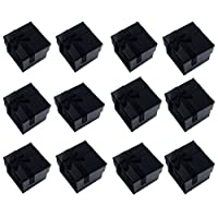 Glitterymall 12pcs Black Color Cube Cardboard Jewelry Bangle Gift Rings Earrings Boxes Cutely Small Gift Box with Satin Ribbons Bownot, White or Black Foam insert