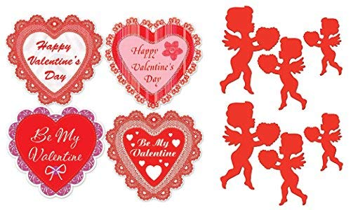 FAKKOS Design Valentines Day Party Supplies Decorations Heart and Cupid Large Cardstock Cutouts