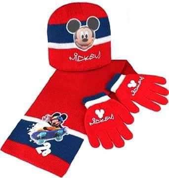 Disney - Set de bufanda, gorro y guantes - para niño rojo rojo