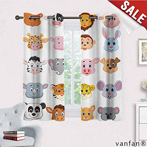 Patio Curtain Panel,Cartoon,Kids Themed Baby Cute Animals Lions Pigs Cows Farm Safari Baby Nursery Room Image,Set of 2 Pieces,Multicolor,W63 Xl72