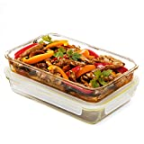 glass baking dish small - Komax Oven Safe Glass Casserole Baking Dish Set of 2 - Large 12 by 8 inch Food Storage Roasting Lasagna Pan - Airtight Container With Locking Lids - BPA Free - 64oz.
