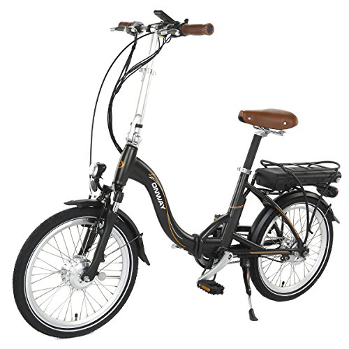Onway 20 Inch 7 Speed Foldable Electric Bike with Pedal Assist, 250W Motor 10.4Ah Lithium Battery, 5-Level Assist Electric Bicycle