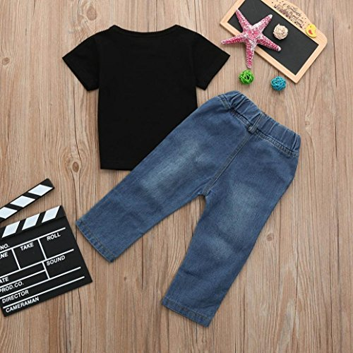 Crewneck Outfits Cactus Toddler Kid Letter Hole Summer 2Pcs Jeans Tops Pants Shirt T Baby Boys New Sleeve Short Printed Black Break Junjie Sets 4qpOx
