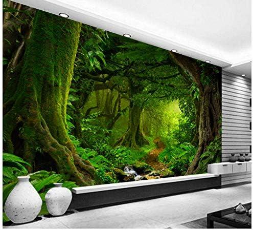 Mingld カスタム壁紙3D熱帯林滝木ジャングル自然現代の森林パスウォールステッカーリビングルーム寝室壁画-200X140Cm