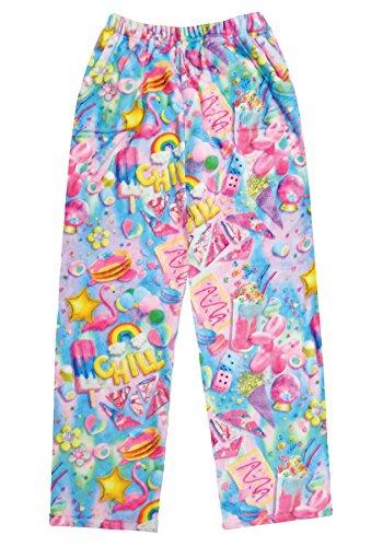 - iscream Big Girls Fun Print Silky Soft Plush Pants - Chill, Medium