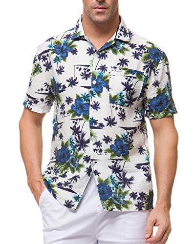 Janmid Men's Tropical Hawaiian Shirt Casual Button Down Short Sleeve Shirt White Blueflower L