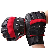 ORVR Rivet Sheepskin Vented Black Fingerless Gloves Motorcycle Driving Cycling Sports