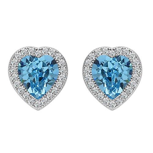 Heart Love Austrian Crystal (BriLove Women 925 Sterling Silver Wedding Bride Love Halo Heart Shape Austrian Crystal Stud Earrings 10mm December Birthstone Blue Topaz Color)