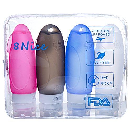 eightNice Portable Silicone BPA Free TSA Approved Leak Proof Travel Bottles 3OZ