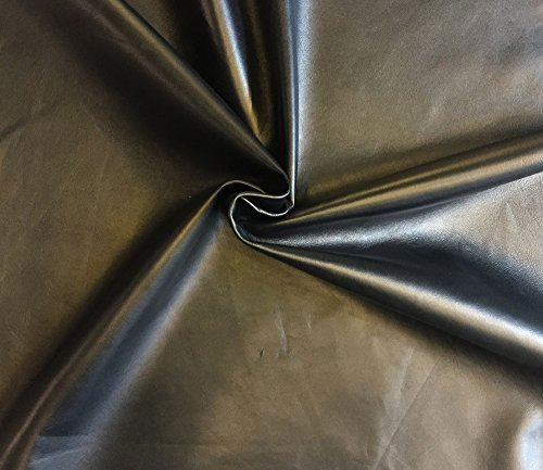 Black Leather Hide - Spanish Full Skin - Rustic Finish - 2 oz avg Thickness - Soft Upholstery Fabric - Genuine Thin Lambskin - DIY Supply - Craft Projects - Home Decor Material (5 sq ft, Black) (Upholstery Black Leather)