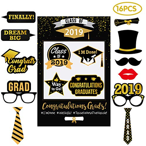 Graduation Party Supplies 2019 - Selfie Photo Booth Picture Frame & Props Kit - Black and Gold Decorations for High School College Nurses -