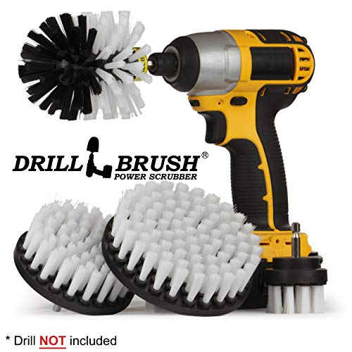 Automotive Soft White - Drill Brush - Leather Cleaner - Car Wash Kit - Car Cleaning Supplies - Wheel Cleaner Brush - Car Detailing Kit - Car Carpet - Interior, Vinyl, Upholstery, Fabric Seat Cleaner (Best Fabric Cleaner For Car Seats)