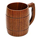 16 oz Beer Mugs Handcraft Wooden Beer Glasses with Handle Fancy Wood Drinking Cup