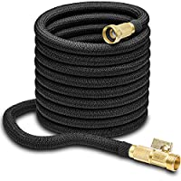 """Hospaip 50ft Garden Hose - All New Expandable Water Hose with Double Latex Core, 3/4"""" Solid Brass Fittings, Extra Strength Fabric - Flexible Expanding Hose with Metal 8 Function Spray Nozzle"""