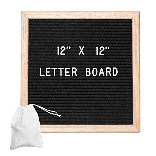 Felt Letter Board with 650 Letters, Numbers & Symbols - 12x12 inch Changeable Message Board with Oak Wooden Frame, Plus Free Letter Bag