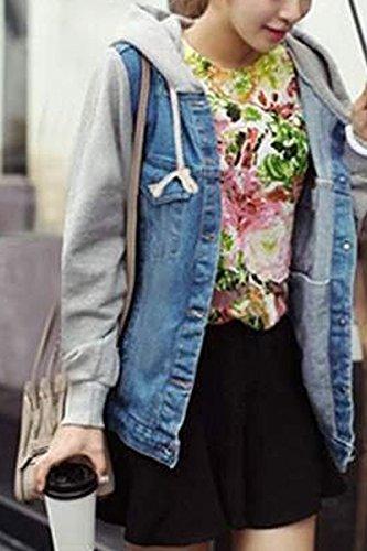 TOOGOO(R)Ropa exterior de algodon de dril con capucha de la mujer capa de chaqueta vaquera encapuchada azul oscuro