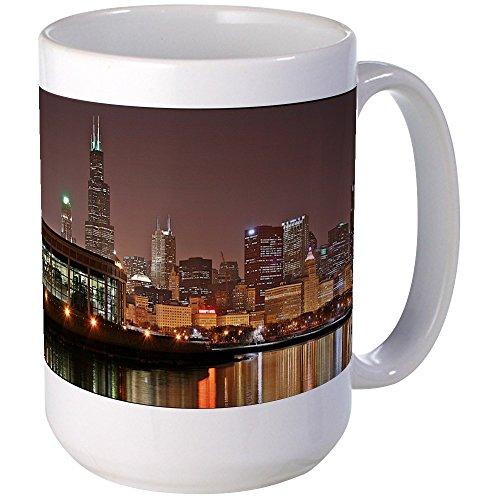 CafePress - Chicago Skyline Mugs - Coffee Mug, Large 15 oz. White Coffee Cup -