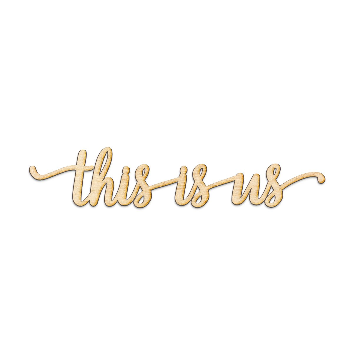 "This is us Script Wood Sign Home Decor Wall Art Unfinished Charlie 18"" x 4"""
