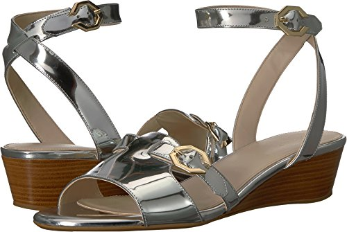 Cole Haan Women's Terrin Black Wedge 40mm Silver Leather 5 B US