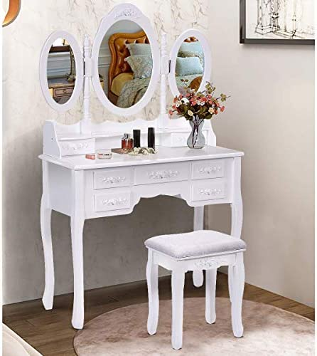 SPSUPE Vanity Set with Tri-Folding Oval Mirror, 7 Storage Drawers and Cushioned Stool, Makeup Dressing Table with Removable Top, Wood Dresser, Ideal for Girls Women Bedroom Bathroom White