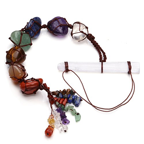 Jovivi Chakra Ornament Set - Selenite Crystal + 7 Chakra Tumbled & Chipped Gemstones Tassel Spiritual Meditation Hanging Ornament/Window Ornament/Feng Shui Ornament ()