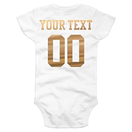 380b1fa6d Amazon.com: Custom Metallic Name/Number Onesie: Infant Gerber Onesie:  Clothing