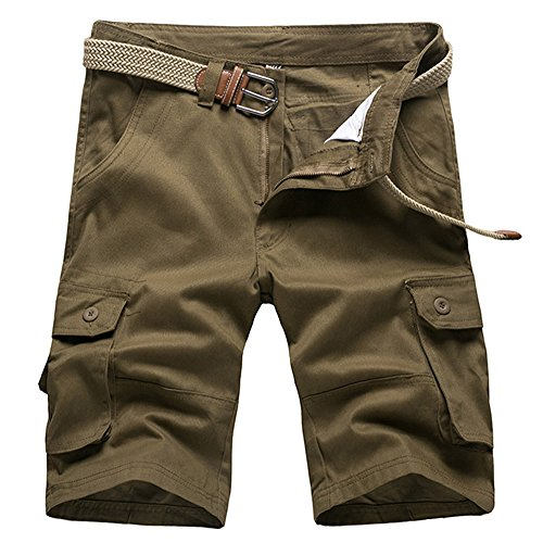 Fit Knee Short - AKARMY Must Way Men's Plus Size Relaxed Fit Casual Cotton Cargo Shorts 01# Army Yellow 36