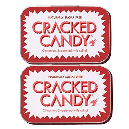 Cinnamon Cracked Candy (Twin Pack) Sugar free xylitol candy. Vegan, diabetic friendly, NON GMO. (Pack Mints Twin)