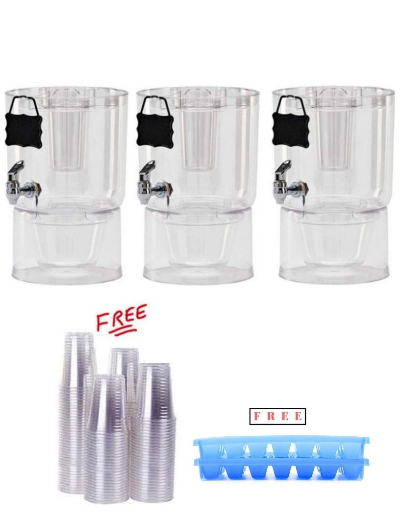 Pack of 3 Buddeez 14401C-ONL Party Top New Beverage Dispenser, 1.75 gallon, Clear with FREE!