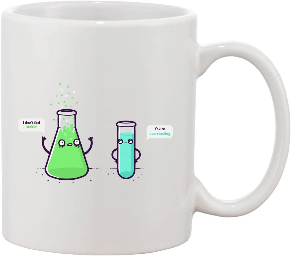 Amazon Com Ceramic Coffee Mug Funny Chemistry Beaker Chemicals By B A Kitchen Dining