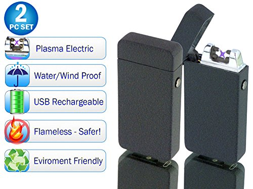 Tac Plasma Lighter Dual Arc Tactical Beam Torch USB Rechargeable, Lithium Ion Battery, Electric Windproof Splashproof Flameless, Butane Free - New Technology - Metal - Seen on TV (2pc, Black Matte)