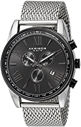 Akribos XXIV Men's AK813SSB Black Metal Watch with Stainless Steel Mesh Band