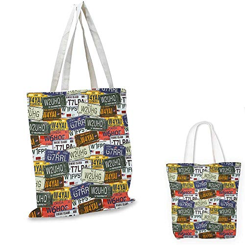 (USA fashion shopping tote bag Retro American Auto License Plates Utah Washington Rhode Island North Carolina Print canvas bag shopping Multicolor.)