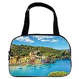 Polychromatic Optional Small Handbag Pink,Italy,Portofino Landmark Aerial Panoramic View Village and Yacht Little Bay Harbor Decorative,Blue Green Yellow,for Girls,Print Design.6.3