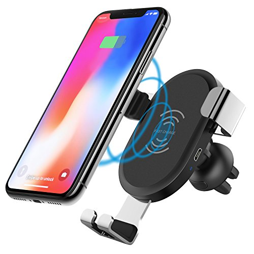 IMDEN Wireless Charger Car Gravity Wireless Fast Charge Car Mount Air Vent Phone Holder Compatible with Samsung Galaxy S9 S9 Plus S8 S7/S7 Edge Note 8 5 & Standard Charge iPhone X 8/8 Plus by IMDEN