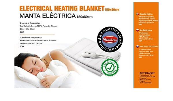 Maxell Power Manta Eléctrica. 150x80 cms. 60 W de Potencia. 3 Niveles de Temperatura.: Amazon.es: Hogar