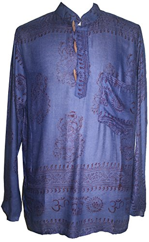 501 MS Unisex Rayon Goddess Printed Kurta Shirt (Large, Blue)